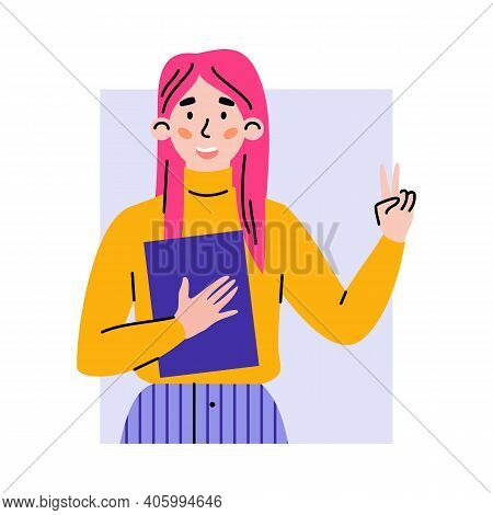 Portrait Of Positive Happy Girl Gesturing Of Victory Sign. Female Character Showing Of Gesture Okay