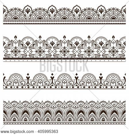 Indian Ethnic Borders Set. Ornate Dividers, Henna Traditional Ornament, Floral Embroidery Pattern. V