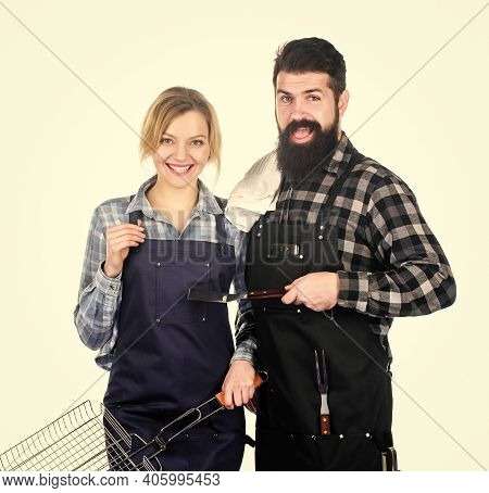 Summertime Leisure. Man Bearded Hipster And Girl Ready For Barbecue White Background. Backyard Barbe