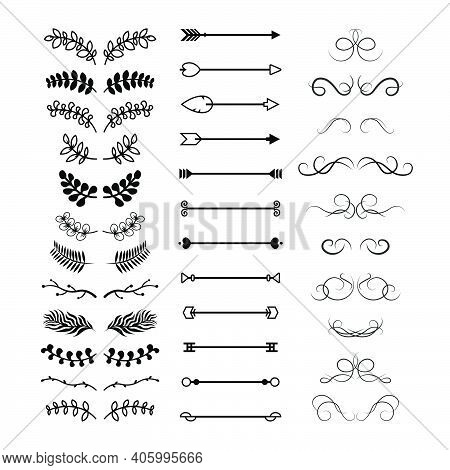 Various Floral Decorative Text Dividers Set. Vintage Hand Drawn Curly Flourish Sketches And Ornament
