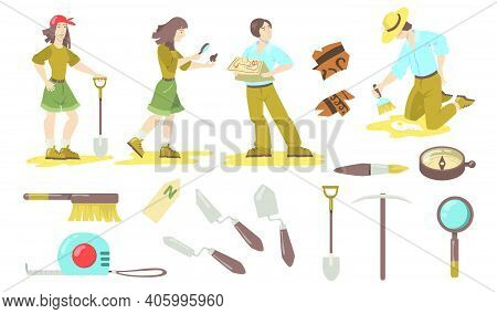 Archeological Tools Set. Archeologist And Paleontologist Using Shovels, Trowels, Brushes, Compass Fo