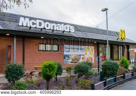 Mold, Flintshire; Uk: Jan 28, 2021:  The Restaurant Diner Operated By Mcdonalds In The Welsh Market
