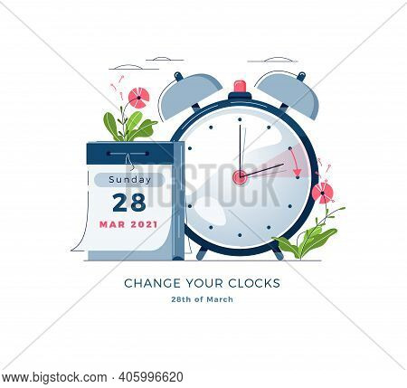 Daylight Saving Time Banner. Calendar With Marked Date, Text Change Your Clocks. Changing The Time O