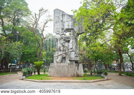 Hanoi, Vietnam : 26/03/2019 : The Monument To Suicide Bomber Soldiers Of Vietnamese Army In Hang Dau