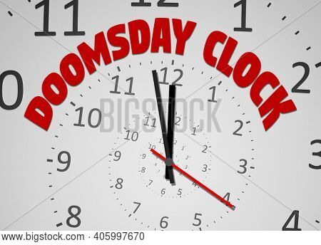 An image of the doomsday clock 100 seconds to twelve