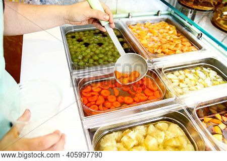Set Of Fruit Dessert For Make A Smoothie. Fresh Fruits Juices. The Woman's Hand Making Smoothie Frui