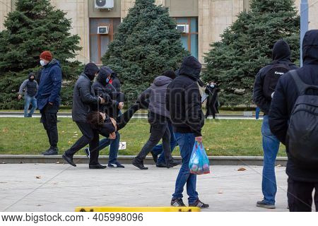 Krasnodar, Russia - January 31, 2021. Unidentified Persons Snatch People At A Peaceful Rally . Oppos