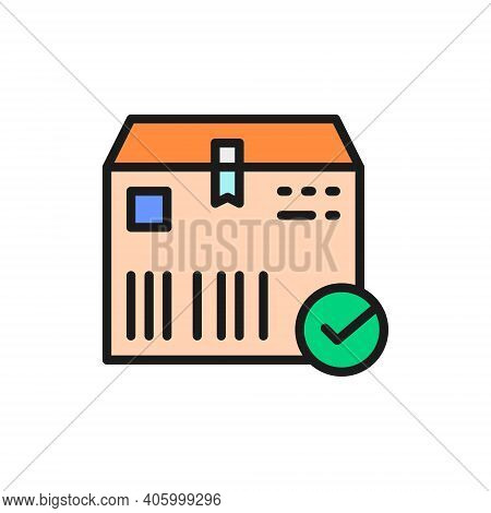 Cardboard Box With Check Mark, Cargo Delivered, Verified Color Line Icon.