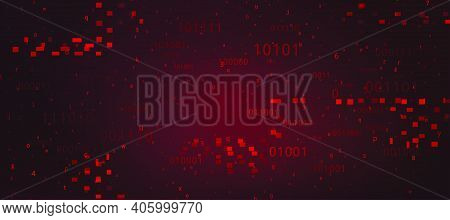 Abstract Red Background With Binary Code. Malware, Or Hack Attack Concept