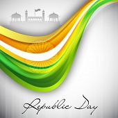 Indian flag color creative wave background for Republic Day EPS 10. poster