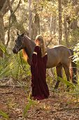 beautiful woman in medieval dress with horse in forest poster