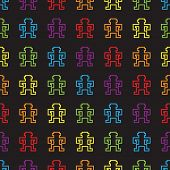 seamless rainbow pixel game monkeys pattern vector poster