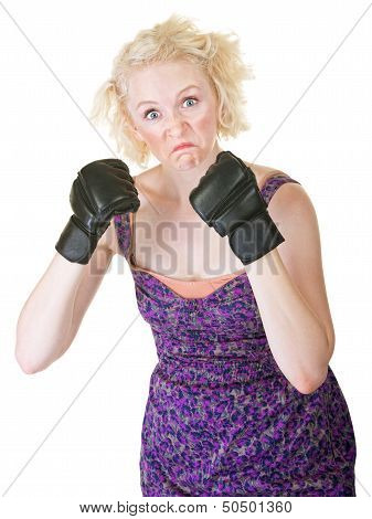 Grimacing Lady With Mma Gloves