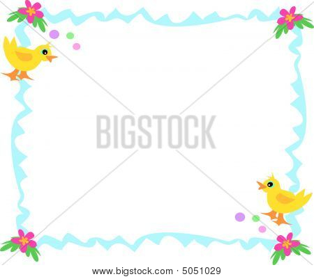This is a sweet blue frame with ducks bubbles and flowers. poster