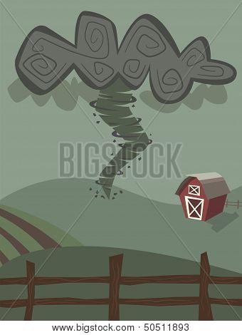 Tornado on farm