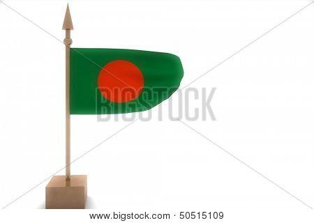 Bagladesh flag on golden pole