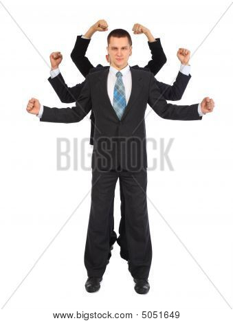 Young Businessman With Six Fists Full Body