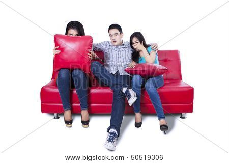 Friends Watching Tv - Isolated