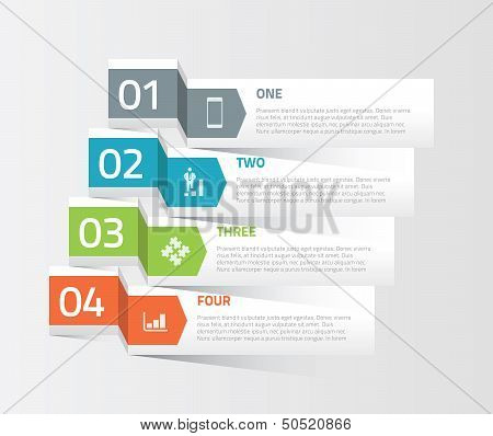 Four origami paper infographic option elements vector
