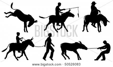 Set of editable vector silhouettes of donkeys and people in different situations with all figures as separate objects