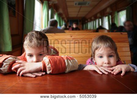 Two Children In Train