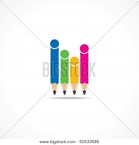 Colorful  pencils make family icon