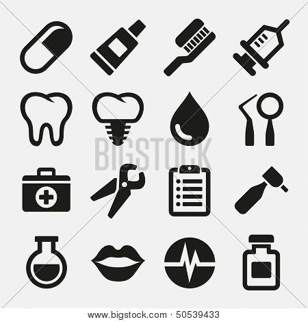 Dental icons set