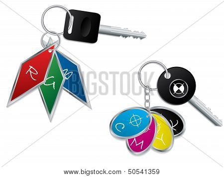 Rgb And Cmyk Keyholders