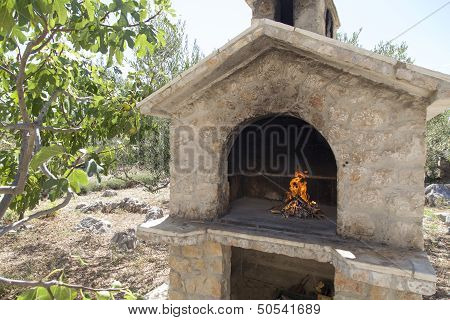 Fire in rich bbq fireplace