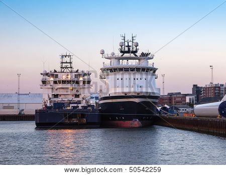 Oil Supply Ships In Esbjerg Harbor, Denmark