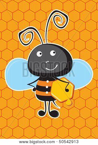 Bee with honeycomb.