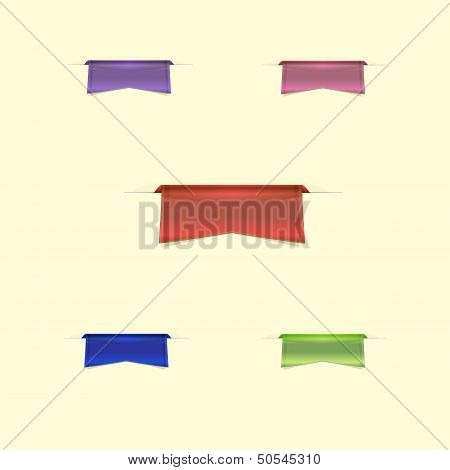 Colorful Sleek Web Ribbons On Yellow Background