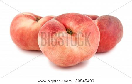 Three paraguayos flat peaches on white background poster