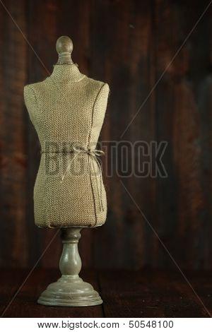 Vintage Antique Mannequin Busts on Wood Grunge Background