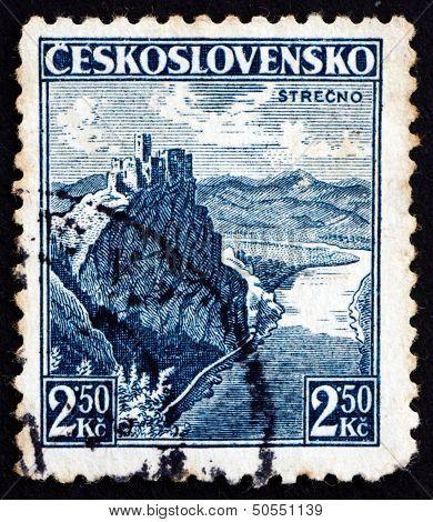 Postage Stamp Czechoslovakia 1936 Castle At Strecno, Ruins