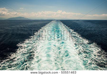 Ship Trail On The Sea