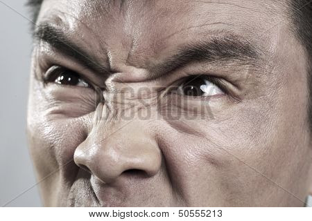 Extreme Close up on angry mans face