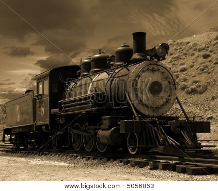 Old Steam Locomotive In Gold Hill