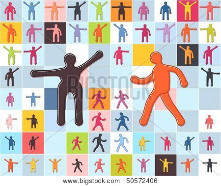 People minimalistic icons set. Men women children standing and walking. EPS 10 vector poster