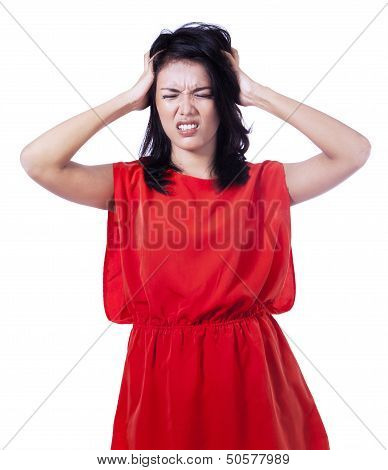 Stressed Woman Puts Her Hands On The Head