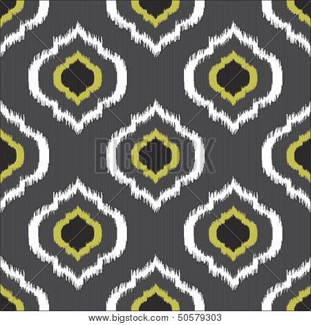 Ikat seamless pattern for web design or home decor, feather seamless illustration