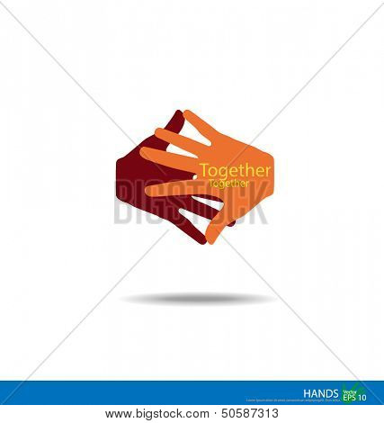 Handshake, Teamwork Hands Logo. Vector illustration. poster