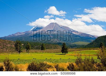 Clouds on top of Mount Shasta, California
