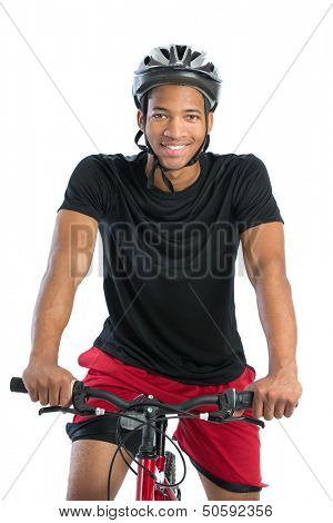 Cheerful Young African American Male Riding Bike Isolated on White Background