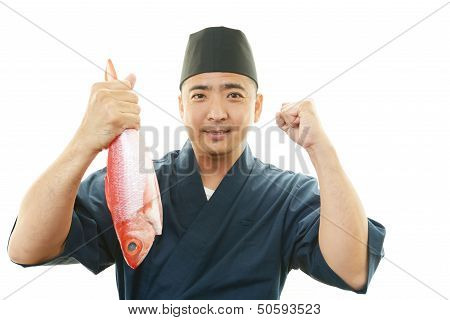 Portrait of an Asian chef