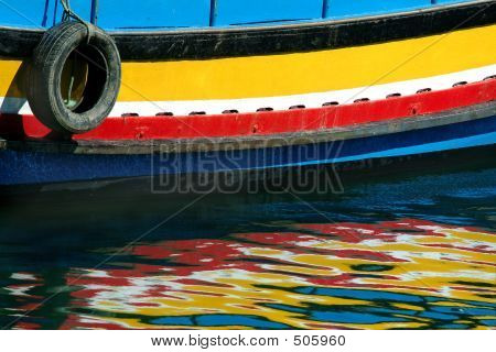 reflections of the boat on sea poster