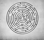 Round maze against white background. Solution idea poster