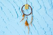 Dream catcher on Blue wall wave texture poster