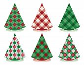 Stylized holiday trees in plaid and argyle patterns. poster