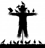 Editable vector silhouette of a flock of pigeons on a scarecrow with all figures as separate objects poster